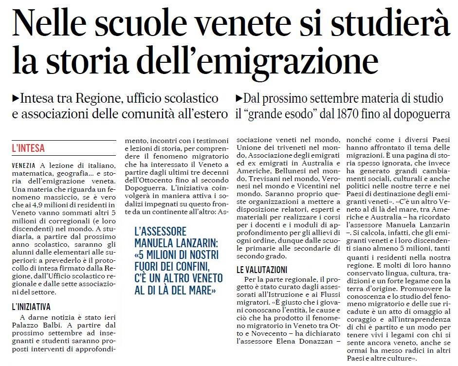 Nelle scuole venete si studierà la storia dell emigrazione ed3ebd67dbe